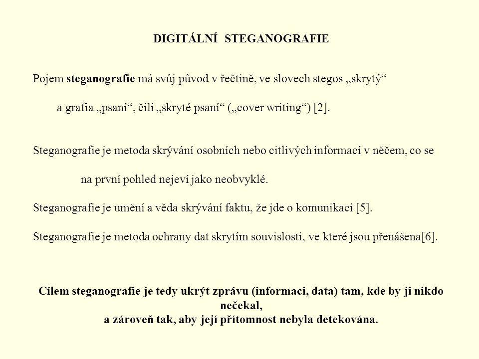 """DIGITÁLNÍ STEGANOGRAFIE Pojem steganografie má svůj původ v řečtině, ve slovech stegos """"skrytý"""" a grafia """"psaní"""", čili """"skryté psaní"""" (""""cover writing"""""""