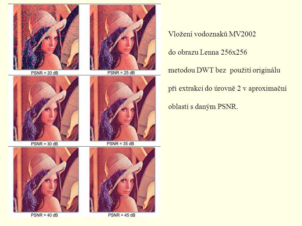 Vložení vodoznaků MV2002 do obrazu Lenna 256x256 metodou DWT bez použití originálu při extrakci do úrovně 2 v aproximační oblasti s daným PSNR.