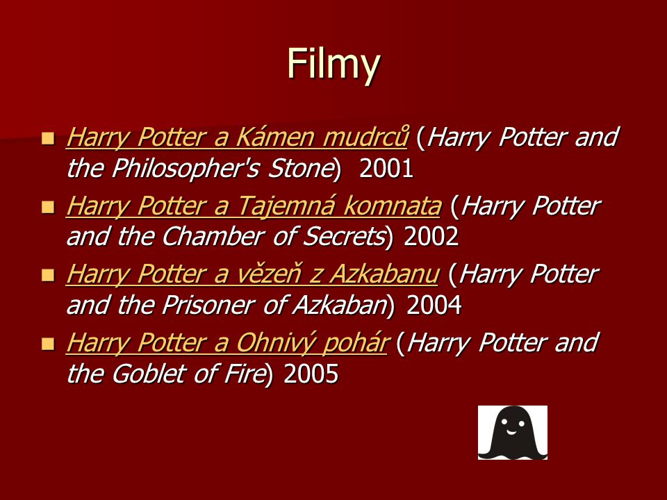 Filmy Harry Potter a Kámen mudrců (Harry Potter and the Philosopher s Stone) 2001 Harry Potter a Kámen mudrců (Harry Potter and the Philosopher s Stone) 2001 Harry Potter a Kámen mudrců Harry Potter a Kámen mudrců Harry Potter a Tajemná komnata (Harry Potter and the Chamber of Secrets) 2002 Harry Potter a Tajemná komnata (Harry Potter and the Chamber of Secrets) 2002 Harry Potter a Tajemná komnata Harry Potter a Tajemná komnata Harry Potter a vězeň z Azkabanu (Harry Potter and the Prisoner of Azkaban) 2004 Harry Potter a vězeň z Azkabanu (Harry Potter and the Prisoner of Azkaban) 2004 Harry Potter a vězeň z Azkabanu Harry Potter a vězeň z Azkabanu Harry Potter a Ohnivý pohár (Harry Potter and the Goblet of Fire) 2005 Harry Potter a Ohnivý pohár (Harry Potter and the Goblet of Fire) 2005 Harry Potter a Ohnivý pohár Harry Potter a Ohnivý pohár