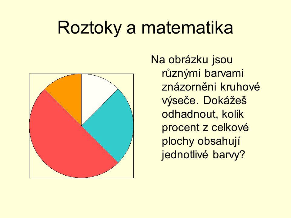 Roztoky a matematika Červená: 50% Zelená: 25% Oranžová: 12,5% Bílá: 12,5% Celkem vybarveno: 100% plochy