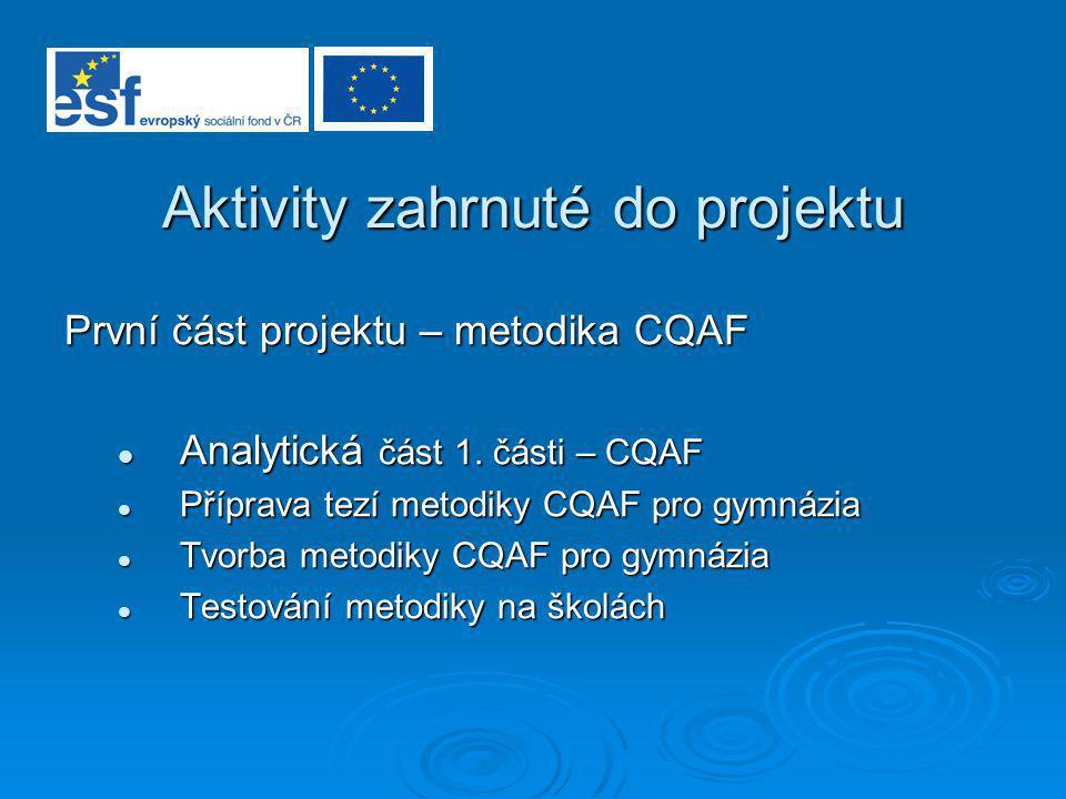 Aktivity zahrnuté do projektu První část projektu – metodika CQAF Analytická část 1. části – CQAF Analytická část 1. části – CQAF Příprava tezí metodi