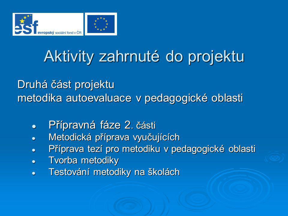 Aktivity zahrnuté do projektu Druhá část projektu metodika autoevaluace v pedagogické oblasti Přípravná fáze 2. části Přípravná fáze 2. části Metodick