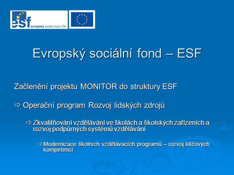 Evropský sociální fond – ESF Začlenění projektu MONITOR do struktury ESF  Operační program Rozvoj lidských zdrojů  Zkvalitňování vzdělávání ve školá