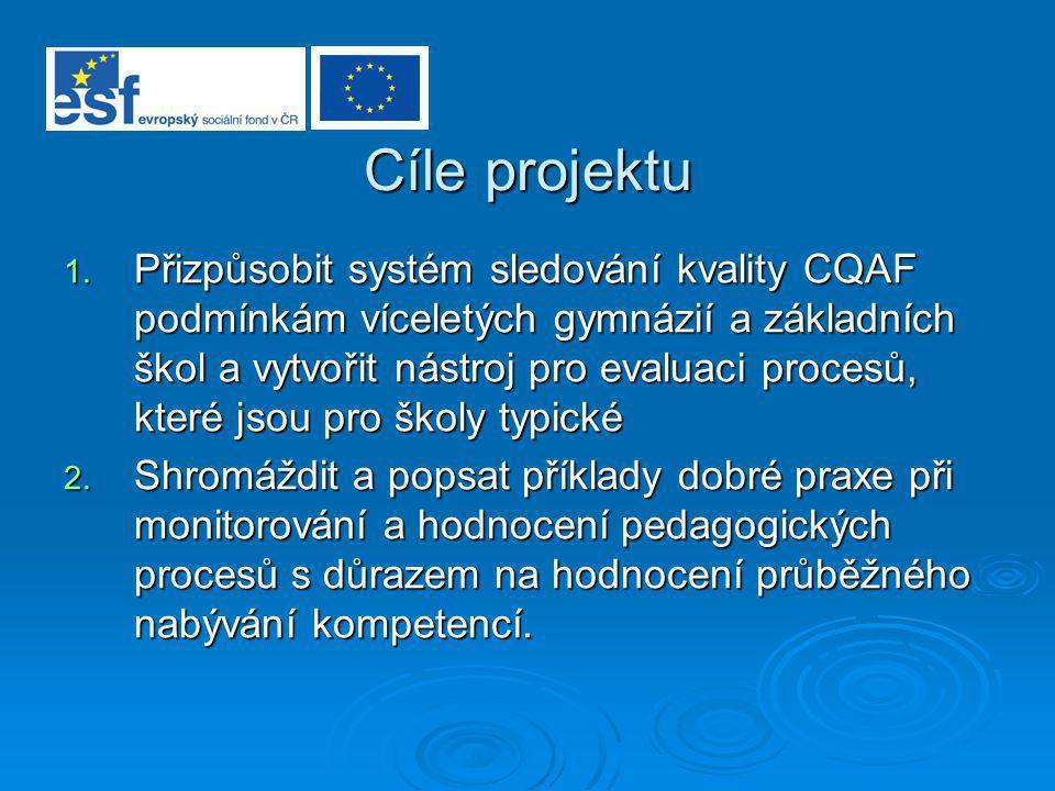 Cíle projektu 1. Přizpůsobit systém sledování kvality CQAF podmínkám víceletých gymnázií a základních škol a vytvořit nástroj pro evaluaci procesů, kt