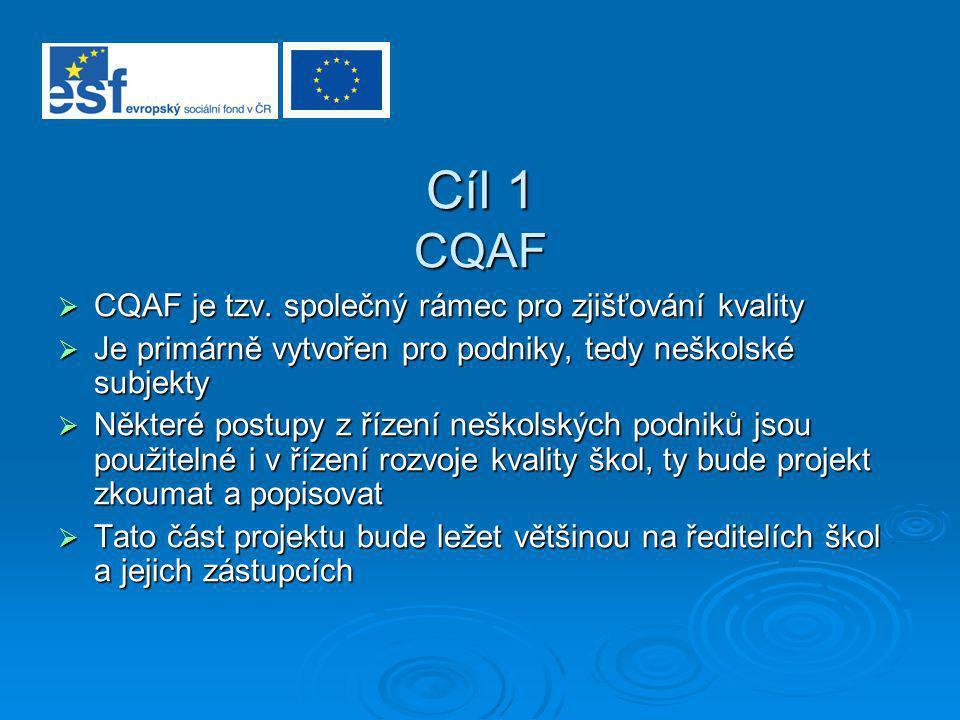 Cíl 1 CQAF  CQAF je tzv. společný rámec pro zjišťování kvality  Je primárně vytvořen pro podniky, tedy neškolské subjekty  Některé postupy z řízení