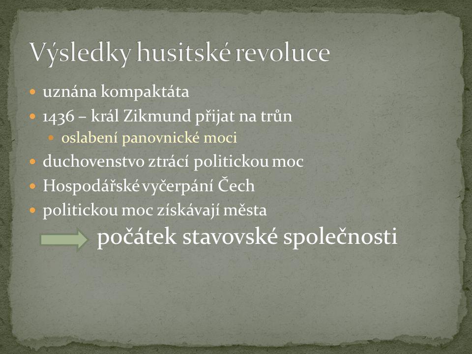 uznána kompaktáta 1436 – král Zikmund přijat na trůn oslabení panovnické moci duchovenstvo ztrácí politickou moc Hospodářské vyčerpání Čech politickou