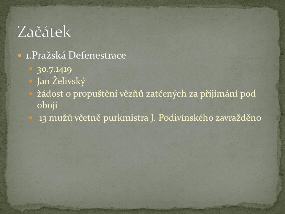 1.Pražská Defenestrace 30.7.1419 Jan Želivský žádost o propuštění vězňů zatčených za přijímání pod obojí 13 mužů včetně purkmistra J. Podivínského zav