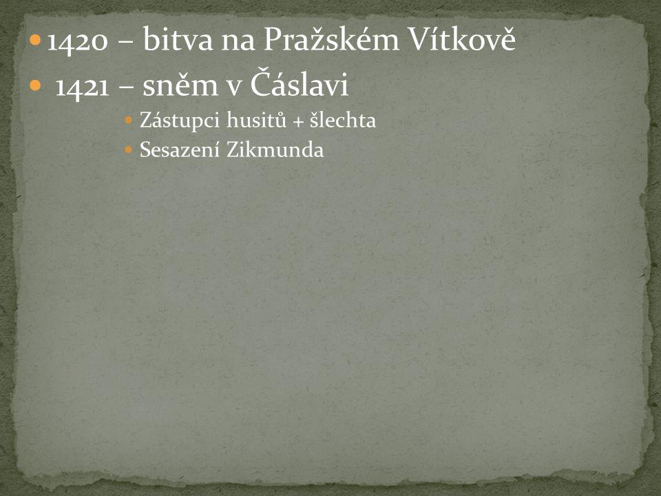 1420 – bitva na Pražském Vítkově 1421 – sněm v Čáslavi Zástupci husitů + šlechta Sesazení Zikmunda