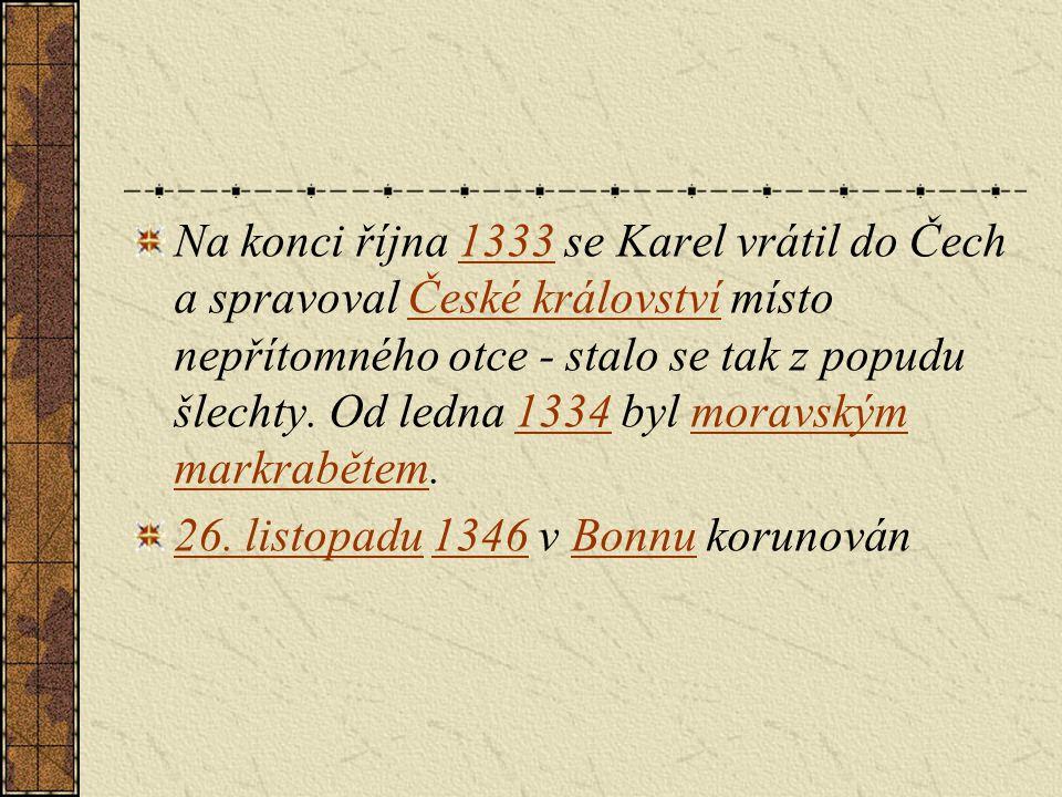 Na konci října 1333 se Karel vrátil do Čech a spravoval České království místo nepřítomného otce - stalo se tak z popudu šlechty. Od ledna 1334 byl mo