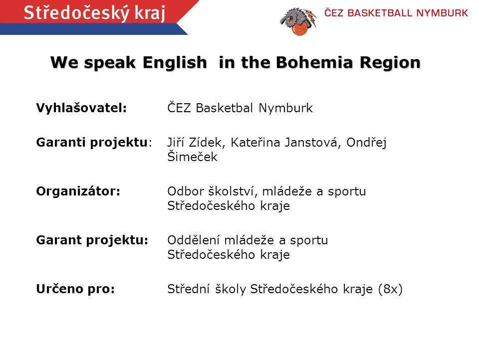 We speak English in the Bohemia Region Vyhlašovatel:ČEZ Basketbal Nymburk Garanti projektu:Jiří Zídek, Kateřina Janstová, Ondřej Šimeček Organizátor:O