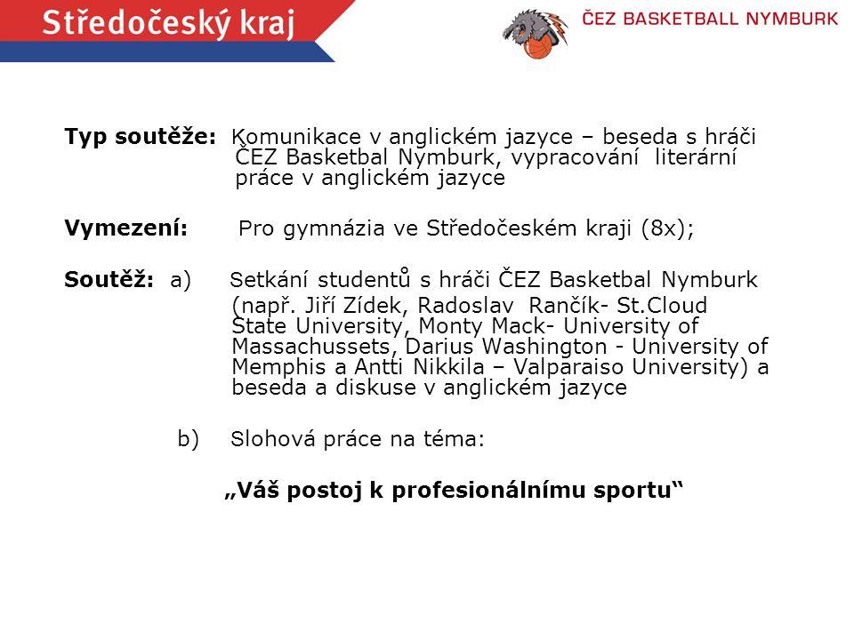 Typ soutěže: K omunikace v anglickém jazyce – beseda s hráči ČEZ Basketbal Nymburk, vypracování literární práce v anglickém jazyce Vymezení: P ro gymn