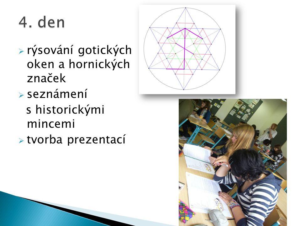  rýsování gotických oken a hornických značek  seznámení s historickými mincemi  tvorba prezentací