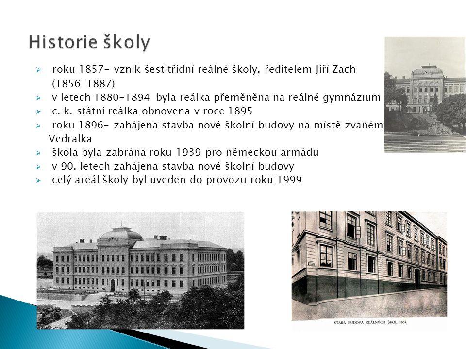  roku 1857- vznik šestitřídní reálné školy, ředitelem Jiří Zach (1856-1887)  v letech 1880-1894 byla reálka přeměněna na reálné gymnázium  c.
