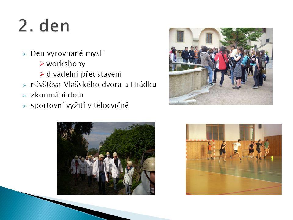  Den vyrovnané mysli  workshopy  divadelní představení  návštěva Vlašského dvora a Hrádku  zkoumání dolu  sportovní vyžití v tělocvičně