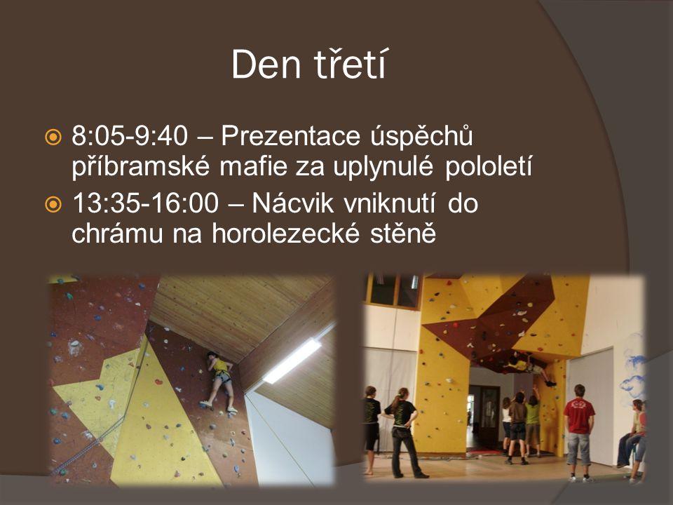 Den třetí  8:05-9:40 – Prezentace úspěchů příbramské mafie za uplynulé pololetí  13:35-16:00 – Nácvik vniknutí do chrámu na horolezecké stěně