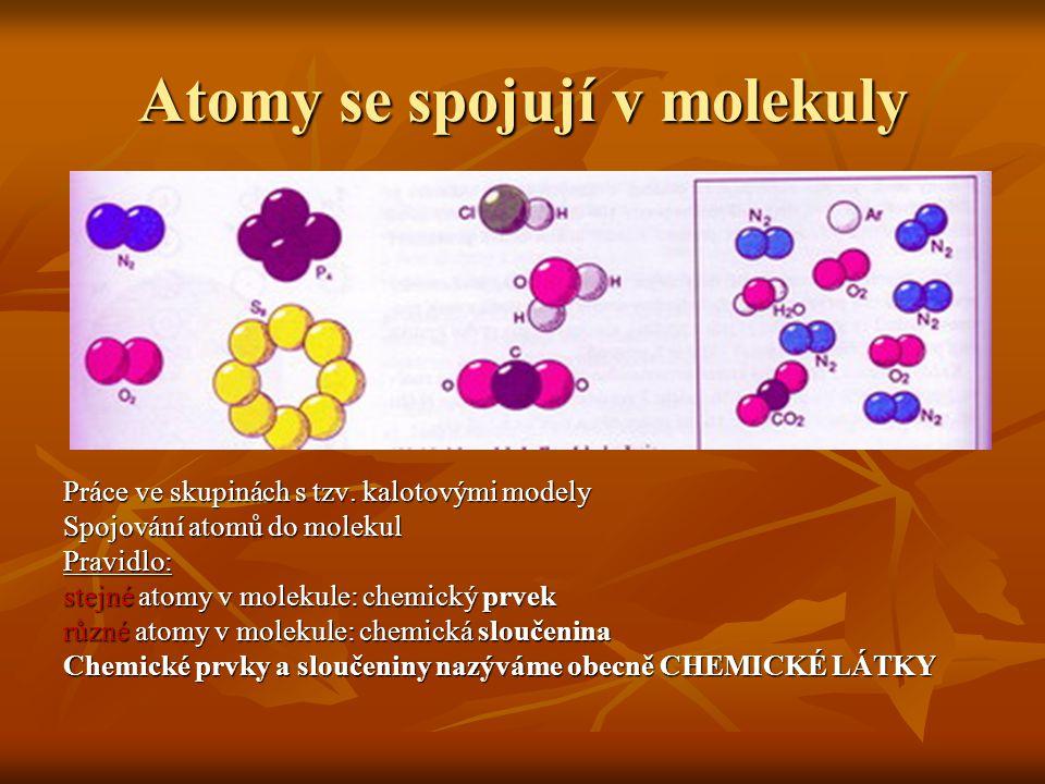 Atomy se spojují v molekuly Práce ve skupinách s tzv. kalotovými modely Spojování atomů do molekul Pravidlo: stejné atomy v molekule: chemický prvek r