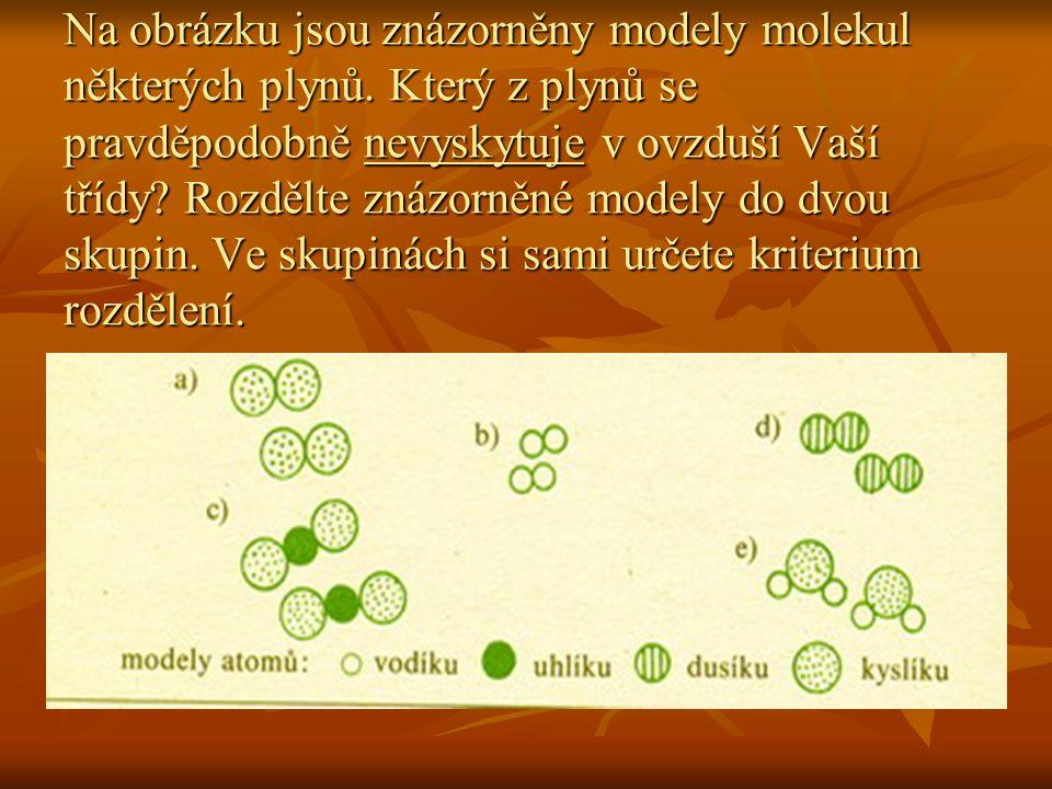 Na obrázku jsou znázorněny modely molekul některých plynů. Který z plynů se pravděpodobně nevyskytuje v ovzduší Vaší třídy? Rozdělte znázorněné modely