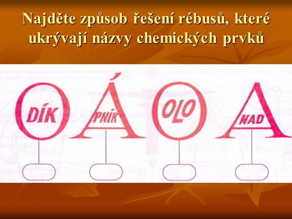 Najděte způsob řešení rébusů, které ukrývají názvy chemických prvků