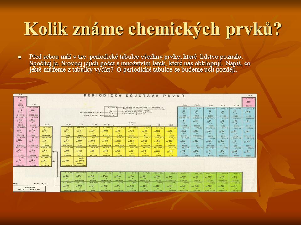 Kolik známe chemických prvků? Kolik známe chemických prvků? Před sebou máš v tzv. periodické tabulce všechny prvky, které lidstvo poznalo. Spočítej je