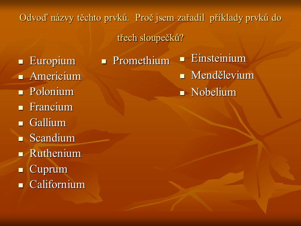 Odvoď názvy těchto prvků. Proč jsem zařadil příklady prvků do třech sloupečků? Europium Europium Americium Americium Polonium Polonium Francium Franci