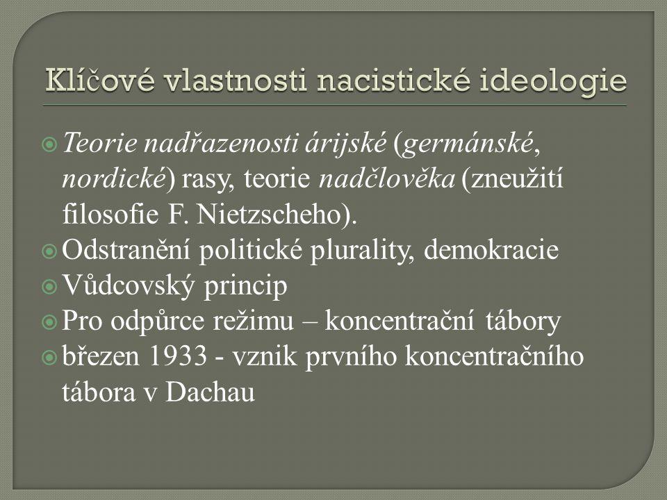  Teorie nadřazenosti árijské (germánské, nordické) rasy, teorie nadčlověka (zneužití filosofie F. Nietzscheho).  Odstranění politické plurality, dem