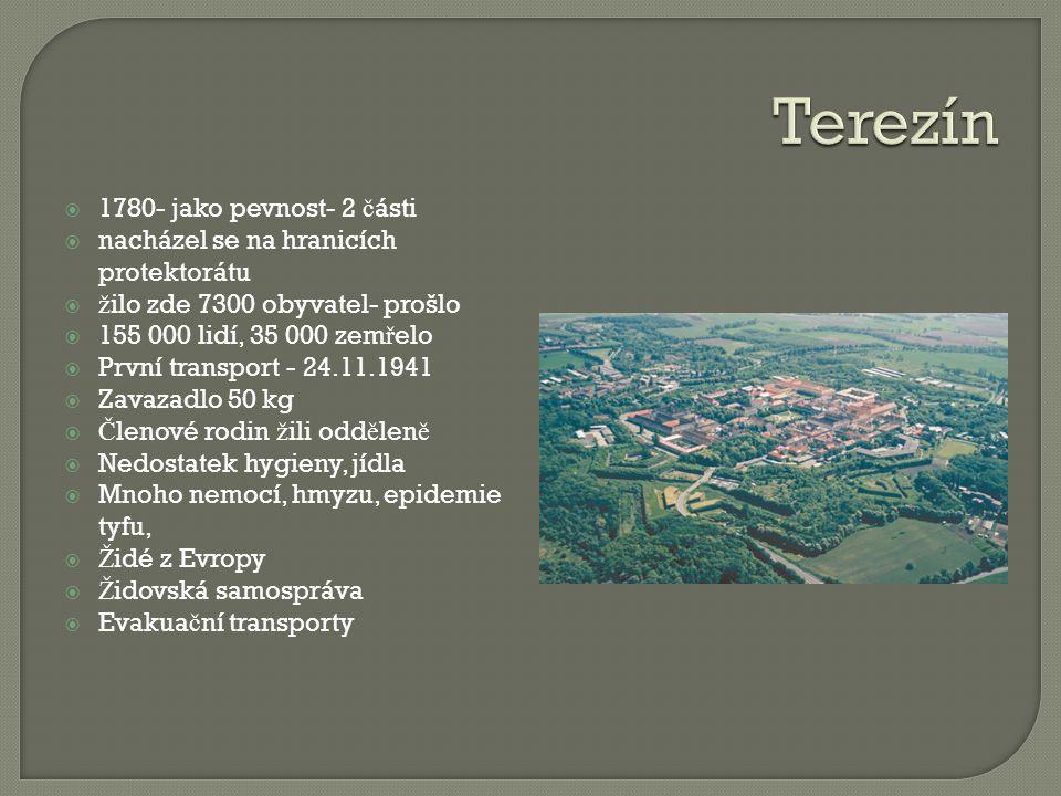  1780- jako pevnost- 2 č ásti  nacházel se na hranicích protektorátu  ž ilo zde 7300 obyvatel- prošlo  155 000 lidí, 35 000 zem ř elo  První tran
