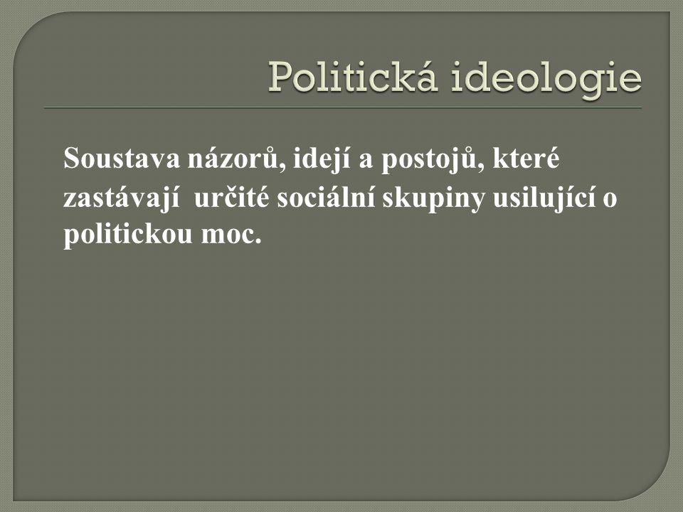 Soustava názorů, idejí a postojů, které zastávají určité sociální skupiny usilující o politickou moc.