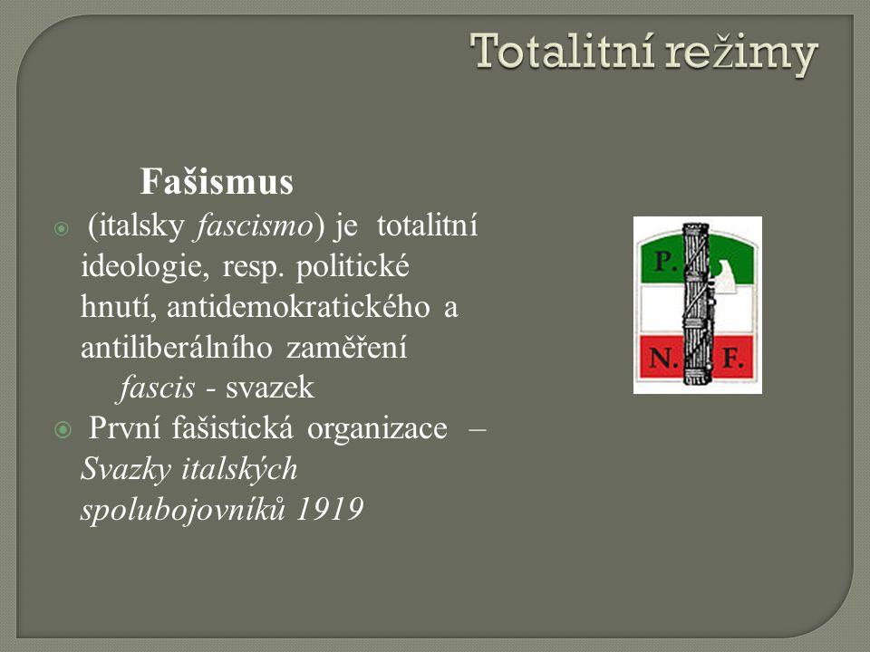 Fašismus  (italsky fascismo) je totalitní ideologie, resp. politické hnutí, antidemokratického a antiliberálního zaměření fascis - svazek  První faš