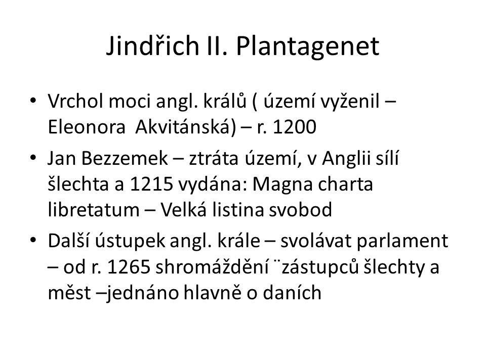 Jindřich II. Plantagenet Vrchol moci angl. králů ( území vyženil – Eleonora Akvitánská) – r. 1200 Jan Bezzemek – ztráta území, v Anglii sílí šlechta a