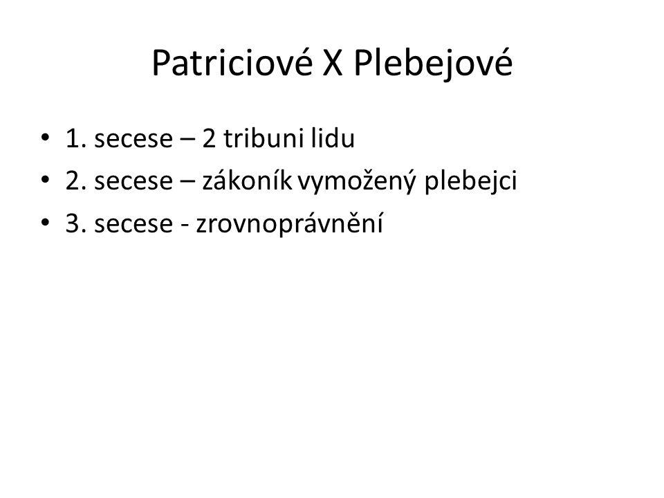 Patriciové X Plebejové 1. secese – 2 tribuni lidu 2. secese – zákoník vymožený plebejci 3. secese - zrovnoprávnění