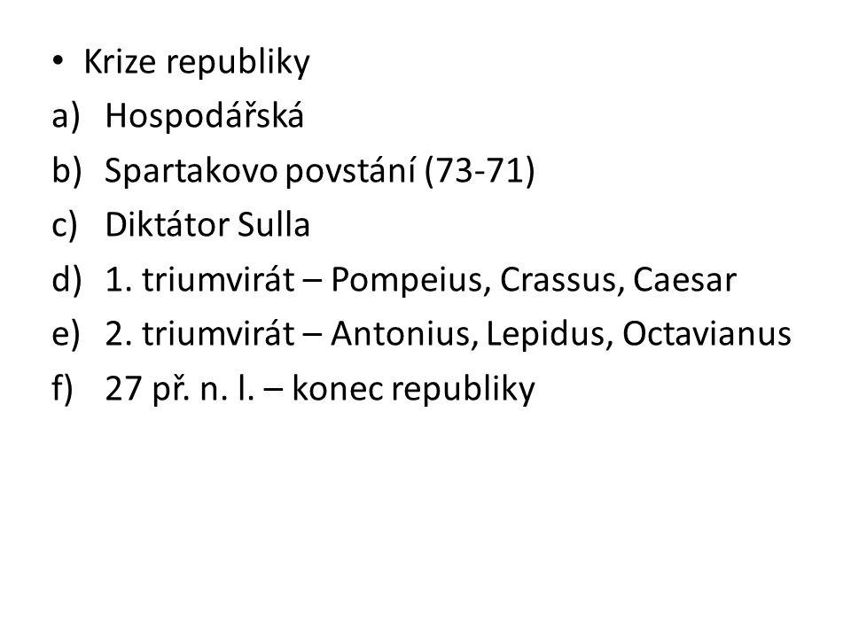 Krize republiky a)Hospodářská b)Spartakovo povstání (73-71) c)Diktátor Sulla d)1. triumvirát – Pompeius, Crassus, Caesar e)2. triumvirát – Antonius, L