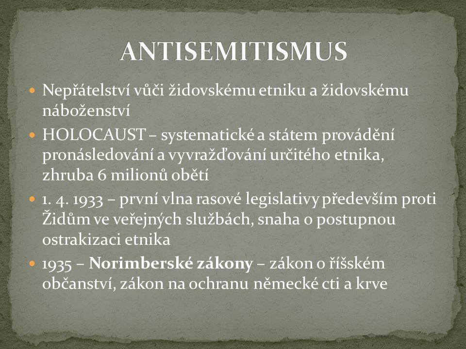 Nepřátelství vůči židovskému etniku a židovskému náboženství HOLOCAUST – systematické a státem provádění pronásledování a vyvražďování určitého etnika
