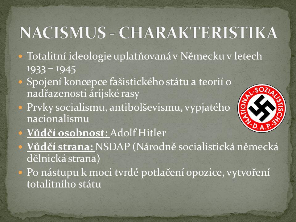 Totalitní ideologie uplatňovaná v Německu v letech 1933 – 1945 Spojení koncepce fašistického státu a teorií o nadřazenosti árijské rasy Prvky socialis