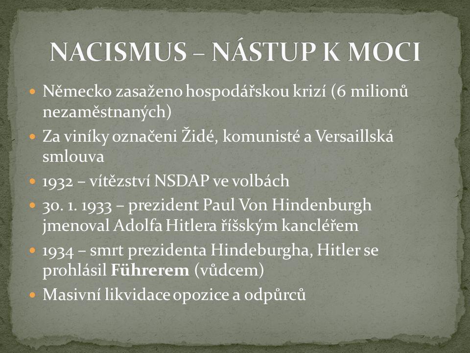 Německo zasaženo hospodářskou krizí (6 milionů nezaměstnaných) Za viníky označeni Židé, komunisté a Versaillská smlouva 1932 – vítězství NSDAP ve volb