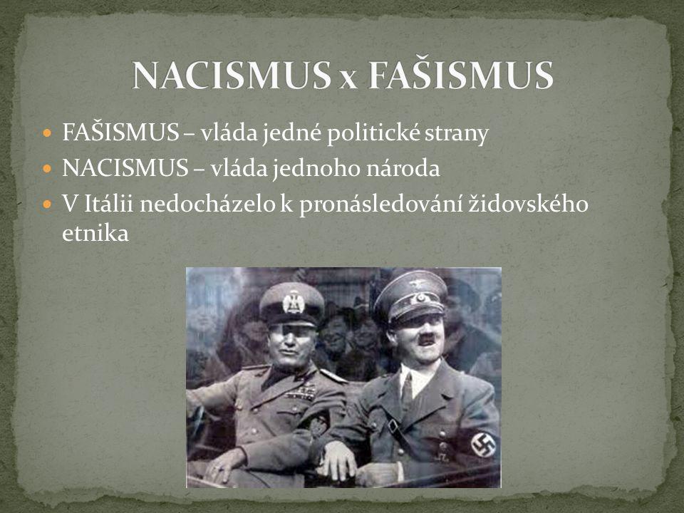 FAŠISMUS – vláda jedné politické strany NACISMUS – vláda jednoho národa V Itálii nedocházelo k pronásledování židovského etnika