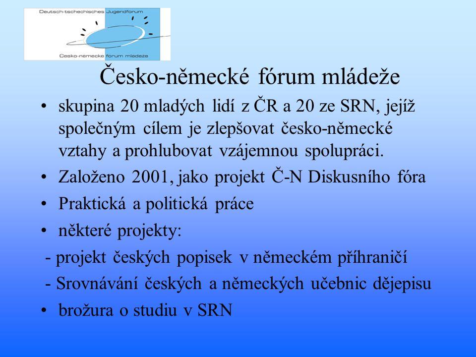 Česko-německé fórum mládeže skupina 20 mladých lidí z ČR a 20 ze SRN, jejíž společným cílem je zlepšovat česko-německé vztahy a prohlubovat vzájemnou spolupráci.