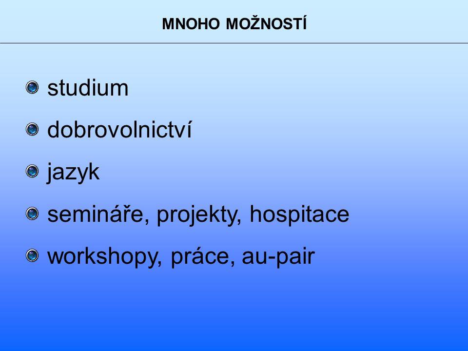 MNOHO MOŽNOSTÍ studium dobrovolnictví jazyk semináře, projekty, hospitace workshopy, práce, au-pair
