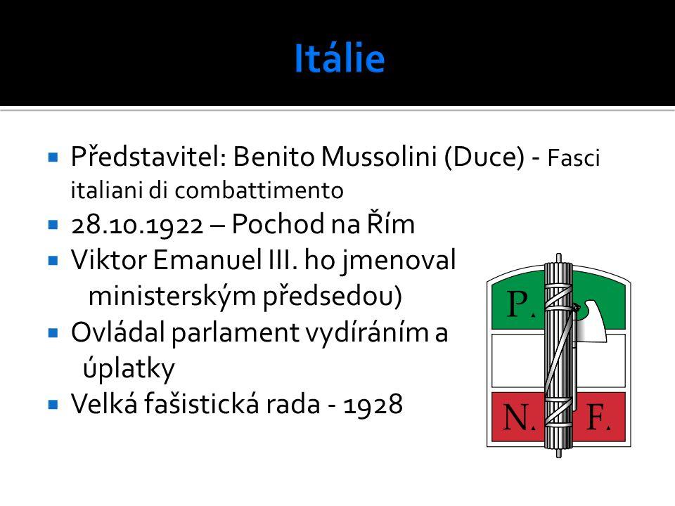  Představitel: Benito Mussolini (Duce) - Fasci italiani di combattimento  28.10.1922 – Pochod na Řím  Viktor Emanuel III. ho jmenoval ministerským