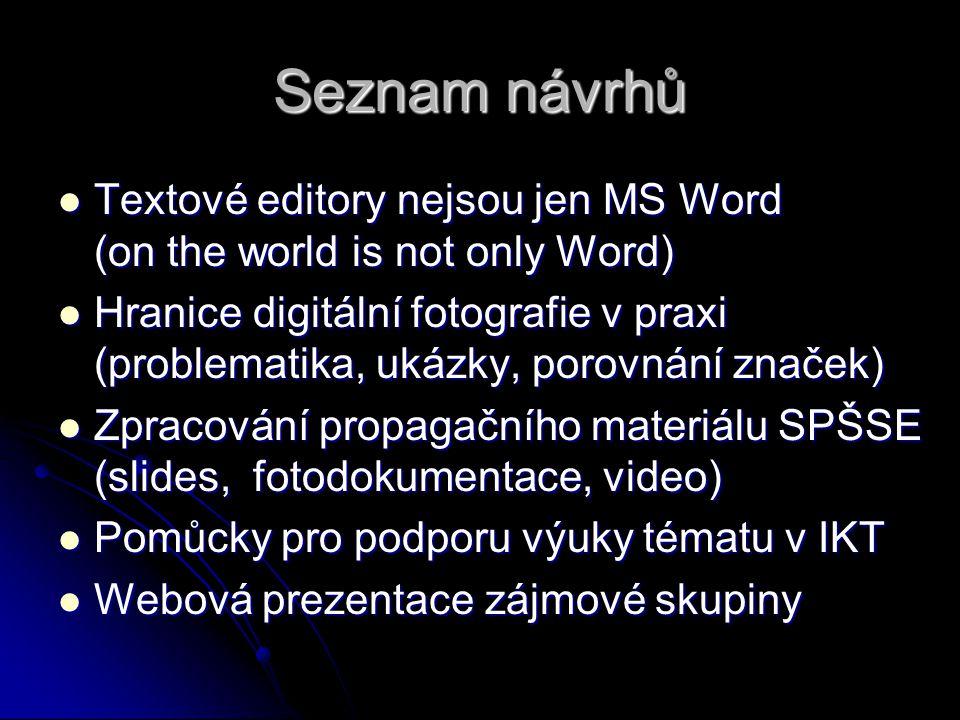 Seznam návrhů Textové editory nejsou jen MS Word (on the world is not only Word) Textové editory nejsou jen MS Word (on the world is not only Word) Hr