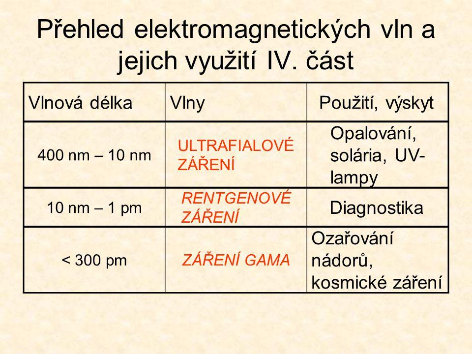 Přehled elektromagnetických vln a jejich využití IV. část Vlnová délkaVlnyPoužití, výskyt 400 nm – 10 nm ULTRAFIALOVÉ ZÁŘENÍ Opalování, solária, UV- l