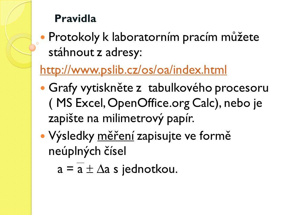 Protokoly k laboratorním pracím můžete stáhnout z adresy: http://www.pslib.cz/os/oa/index.html Grafy vytiskněte z tabulkového procesoru ( MS Excel, Op