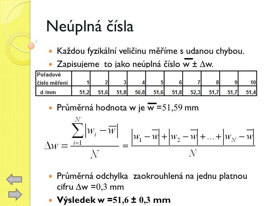 Neúplná čísla Každou fyzikální veličinu měříme s udanou chybou. Zapisujeme to jako neúplná číslo w ± ∆w. Průměrná hodnota w je w = 51,59 mm Průměrná o