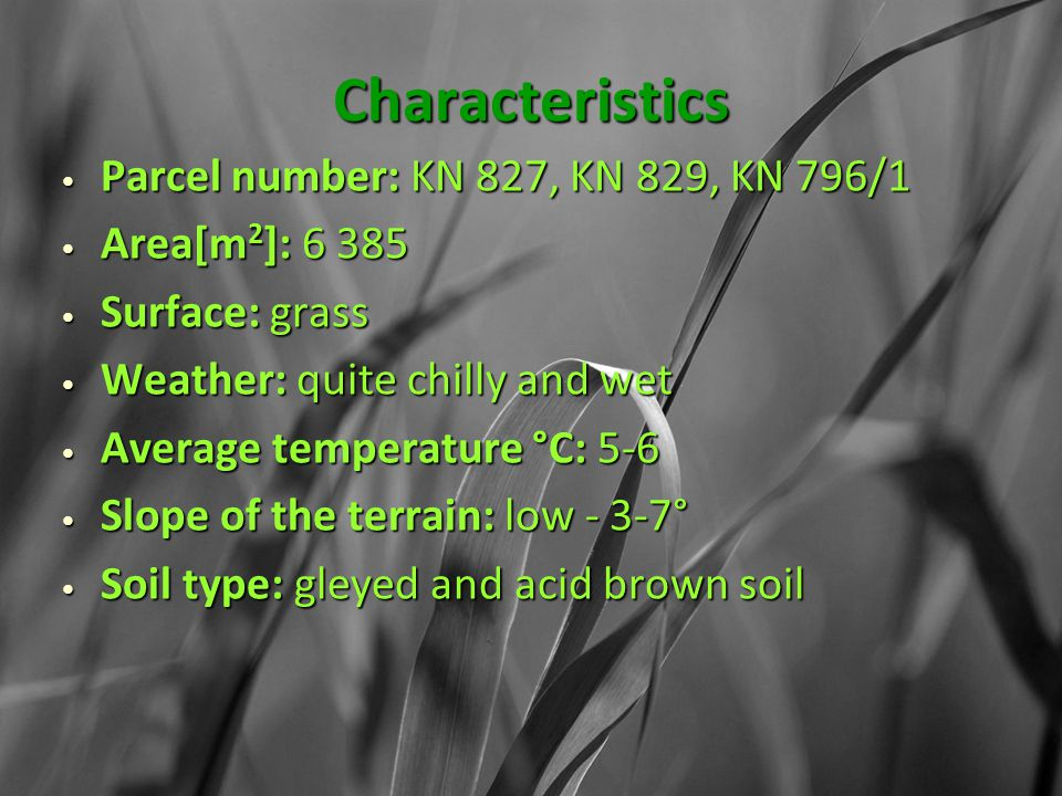 Characteristics Parcel number: KN 827, KN 829, KN 796/1 Parcel number: KN 827, KN 829, KN 796/1 Area[m 2 ]: 6 385 Area[m 2 ]: 6 385 Surface: grass Surface: grass Weather: quite chilly and wet Weather: quite chilly and wet Average temperature °C: 5-6 Average temperature °C: 5-6 Slope of the terrain: low - 3-7° Slope of the terrain: low - 3-7° Soil type: gleyed and acid brown soil Soil type: gleyed and acid brown soil