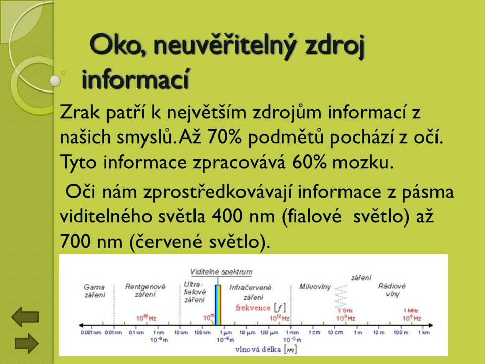 Oko, neuvěřitelný zdroj informací Oko, neuvěřitelný zdroj informací Zrak patří k největším zdrojům informací z našich smyslů. Až 70% podmětů pochází z