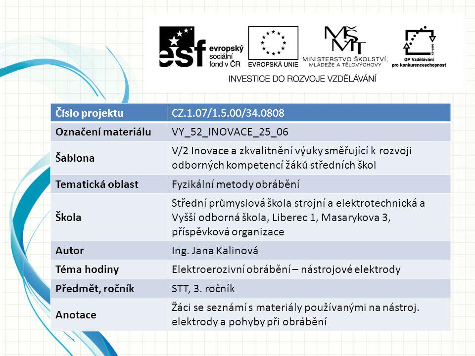 Číslo projektuCZ.1.07/1.5.00/34.0808 Označení materiáluVY_52_INOVACE_25_06 Šablona V/2 Inovace a zkvalitnění výuky směřující k rozvoji odborných kompe