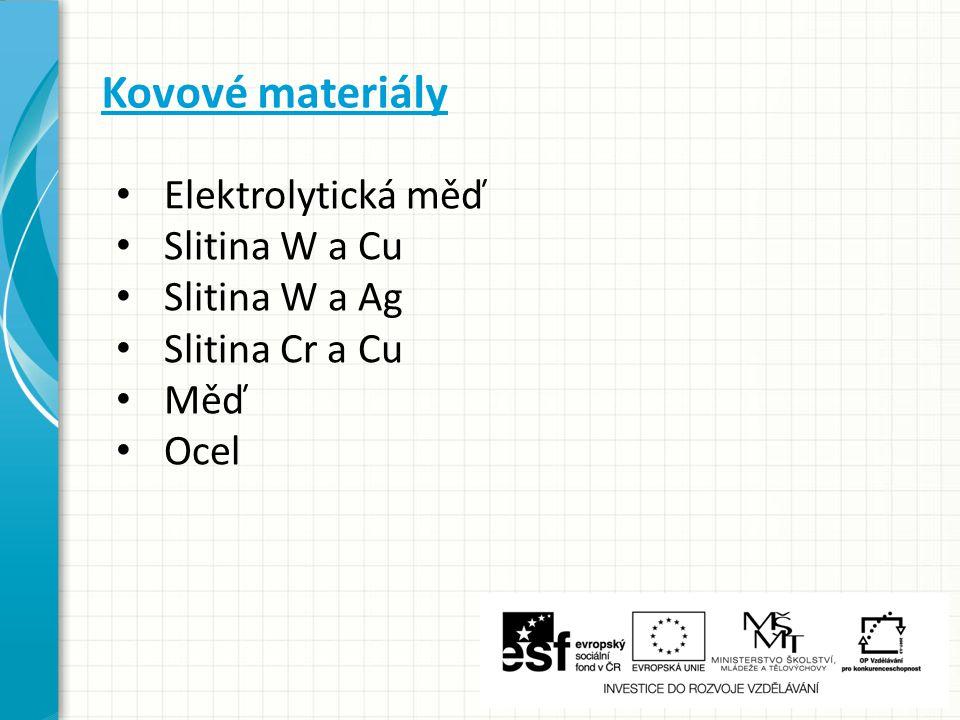 Kovové materiály Elektrolytická měď Slitina W a Cu Slitina W a Ag Slitina Cr a Cu Měď Ocel