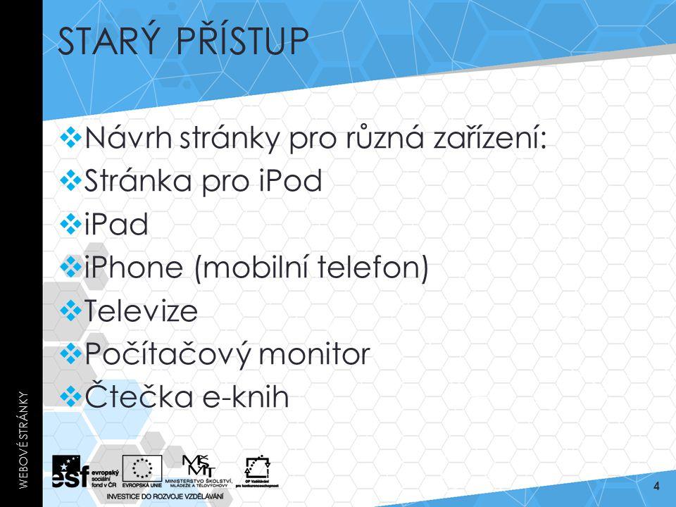 STARÝ PŘÍSTUP  Návrh stránky pro různá zařízení:  Stránka pro iPod  iPad  iPhone (mobilní telefon)  Televize  Počítačový monitor  Čtečka e-knih