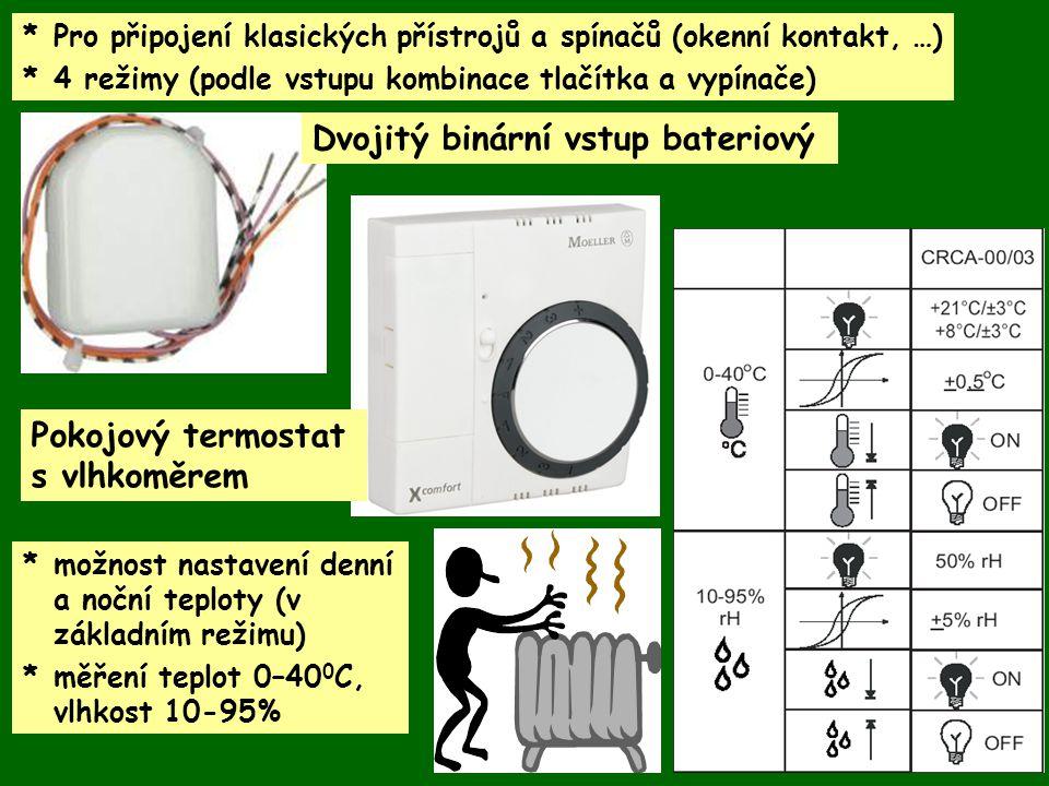 * Pro připojení klasických přístrojů a spínačů (okenní kontakt, …) *4 režimy (podle vstupu kombinace tlačítka a vypínače) Dvojitý binární vstup bateri