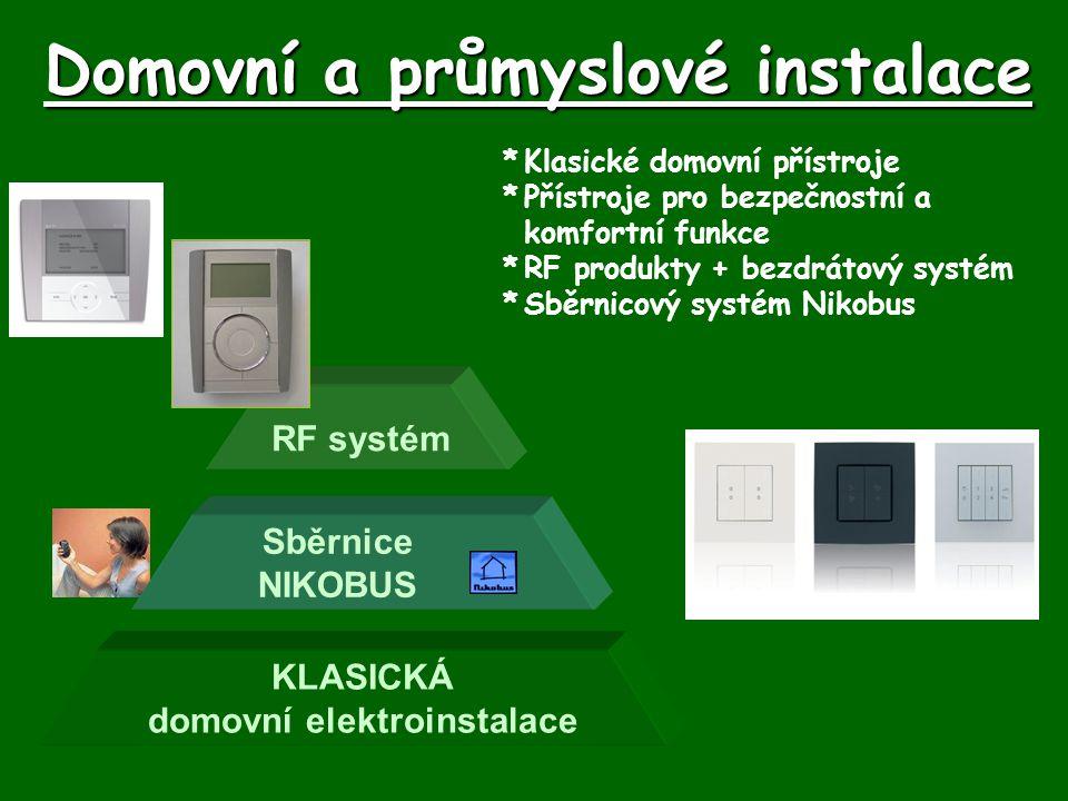 Domovní a průmyslové instalace *Klasické domovní přístroje *Přístroje pro bezpečnostní a komfortní funkce *RF produkty + bezdrátový systém *Sběrnicový