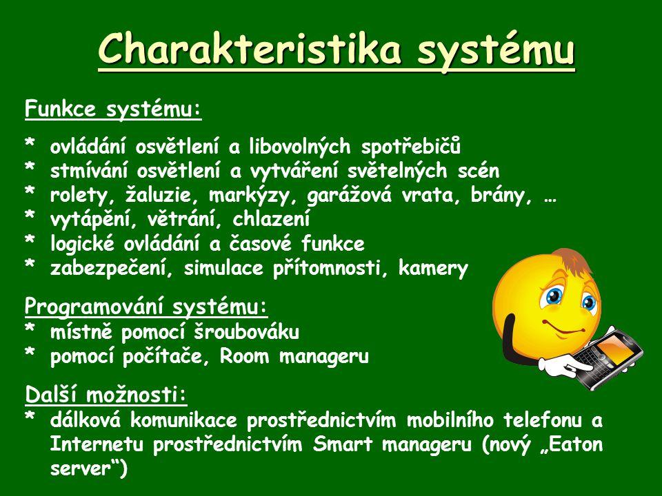 Charakteristika systému Funkce systému: *ovládání osvětlení a libovolných spotřebičů *stmívání osvětlení a vytváření světelných scén *rolety, žaluzie,